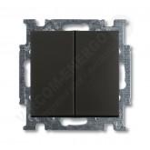 ABB BJB Basic 55 Шато (чёрн) Выключатель 2-х клавишный (1012-0-2177), , 458.58 р., , ABB, Розетки и выключатели