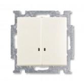 ABB BJB Basic 55 Шале (бел) Выключатель 2-клавишный с подсветкой (1012-0-2188)