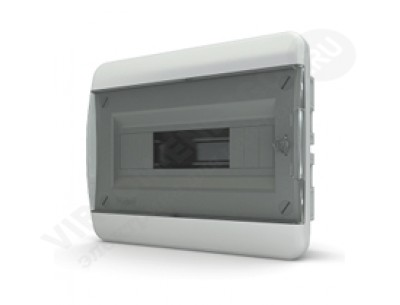 Щит распр. встраиваемый СVК40-08-1 (08 мод.IP40.черная дверь, шины PEи N, DIN-рейка)