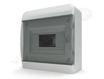 Щит распр. навесной BNK40-08-1 (8мод.IP40.черная дверь, шины PEи N, DIN-рейка)