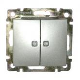 Legrand Valena Алюминий Выключатель 2-х клавишный с индикацией на каждую клавишу (770213)