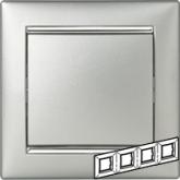 Legrand Valena Алюминий/Серебряный штрих Рамка 4-ая горизонт. (770354), 770354, 890.09 р., 770354, Legrand, Розетки и выключатели
