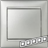 Legrand Valena Алюминий/Серебряный штрих Рамка 5-ая горизонт. (770355), 770355, 1 117.63 р., 770355, Legrand, Розетки и выключатели