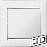 Legrand Valena Белый/Серебряный штрих Рамка 2-ая горизонт. (770492), 770492, 483.94 р., 770492, Legrand, Розетки и выключатели
