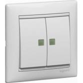 Legrand Valena Бел Переключатель 2-х клавишный с подсветкой (774212), 774212, 728.40 р., 774212, Legrand, Розетки и выключатели