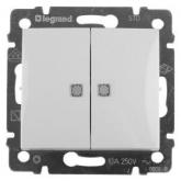 Legrand Valena Бел Выключатель 2-х клавишный с индикацией на каждую клавишу (774213)