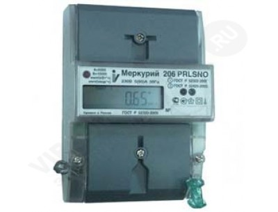 Электросчетчик Меркурий 206 РLNO 5(60)А/230В многотарифный, ЖКИ, DIN