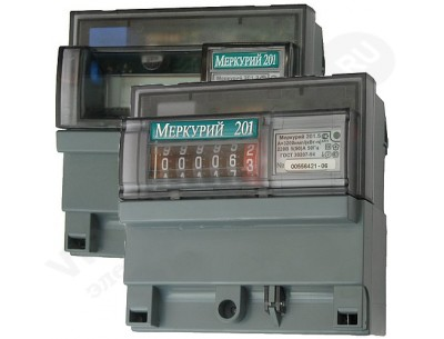 Однофазный электросчетчик  Меркурий 201.5 5(60)А/230В однотарифный, кл.т. 1
